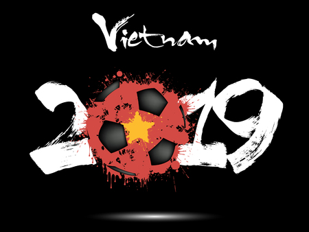 Abstract number 2019 and soccer ball from blots painted in the colors of the Vietnam flag. 2019 New Year on an isolated background. Vector illustration