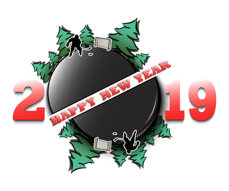 Happy new year 2019 and hockey puck with Christmas trees on an isolated background. Hockey player scores a goal. Design pattern for greeting card. Vector illustration