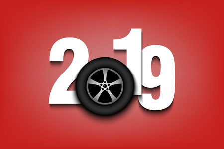 New Year numbers 2019 and wheel auto on an isolated background. Creative design pattern for greeting card, banner, poster, flyer, party invitation, calendar. Vector illustration