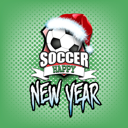 Soccer ball with santa hat and happy new year