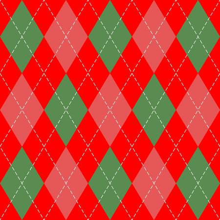 Christmas and new year Argyle plaid. Scottish pattern in green and red rhombuses. Scottish cage. Traditional Scottish background of diamonds. Seamless fabric texture. Vector illustration