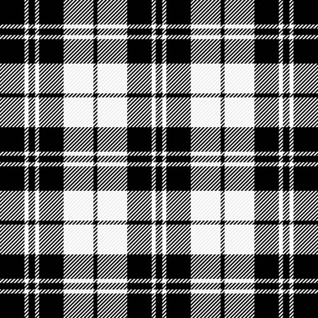 Christmas and new year tartan plaid. Scottish pattern in black and white cage. Scottish cage. Traditional Scottish checkered background. Seamless fabric texture. Vector illustration