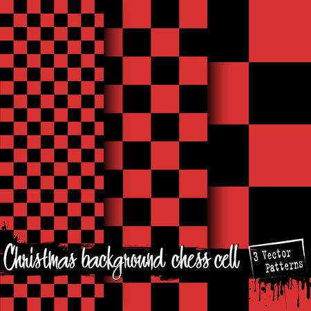 Satz Weihnachtsschach-Zellhintergründe. Roter und schwarzer karierter Hintergrund. 3 Vektormuster. Schach Muster. Schach Käfig. Schachzellstoff. Vektor-Illustration