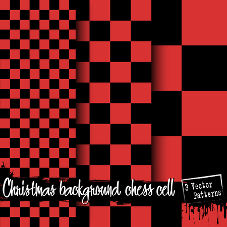 Set of Christmas chess cell backgrounds. Red and black checkered background. 3 vector patterns. Chess pattern. Chess cage. Chess cell fabric. Vector illustration