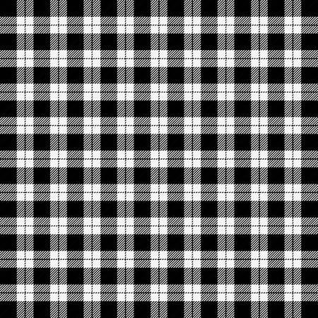Christmas and new year tartan plaid. Scottish pattern in black and white cage. Scottish cage. Traditional Scottish checkered background. Seamless fabric texture. Vector illustration Ilustración de vector