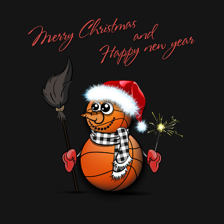 Merry Christmas and happy new year. Snowman from basketball balls on an isolated background. Pattern for banner, poster, greeting card, party invitation. Vector illustration Ilustração