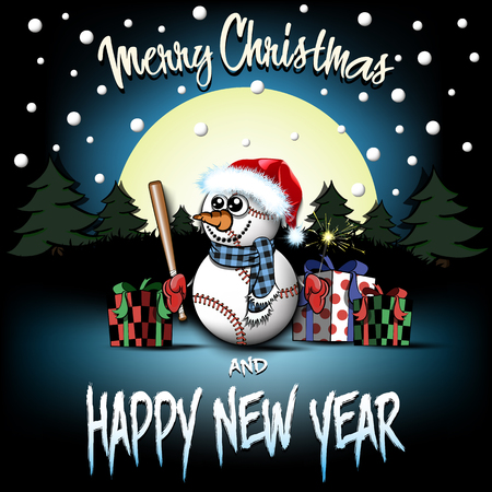 Christmas and new year pattern. Snowman from baseball balls with bat and sparklers, gift boxes, firs on the background of the moon and snowflakes. Design pattern for greeting card. Vector illustration