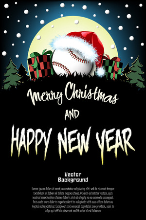 Christmas and new year pattern. Baseball ball in santa hat, gift boxes, firs on the background of the moon and snowflakes. Pattern for banner, poster, greeting card, invitation. Vector illustration Illustration