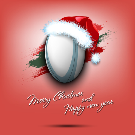 Merry Christmas and Happy new year. New year and rugby ball in santa hat on isolated red background. Design pattern for greeting card. Vector illustration