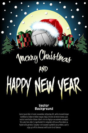 Christmas and new year pattern. Volleyball ball in santa hat, gift boxes, firs on the background of the moon and snowflakes. Pattern for banner, poster, greeting card, invitation. Vector illustration 版權商用圖片 - 126836890