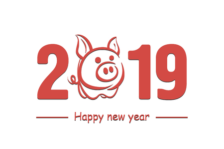 Happy New Year 2019. Cute pig. Chinese symbol of the 2019 year. Greeting card design template for 2019 New Year of the pig. Vector illustration  イラスト・ベクター素材