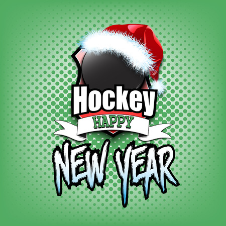 Christmas and new year pattern. Hockey  logo template design. Hockey puck with santa hat. Pattern for banner, poster, greeting card, party invitation. Vector illustration