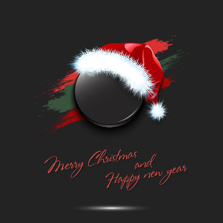 Merry Christmas and Happy new year. New year and hockey puck in santa hat on isolated red background. Design pattern for greeting card. Vector illustration