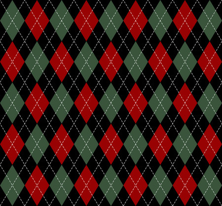 Christmas and new year Argyle plaid. Scottish pattern in black, green and red rhombuses. Scottish cage. Traditional Scottish background of diamonds. Seamless fabric texture. Vector illustration