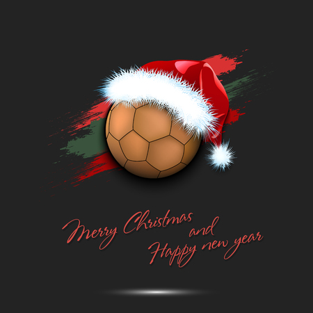 Merry Christmas and Happy new year. New year and handball ball in santa hat on isolated black background. Design pattern for greeting card. Vector illustration
