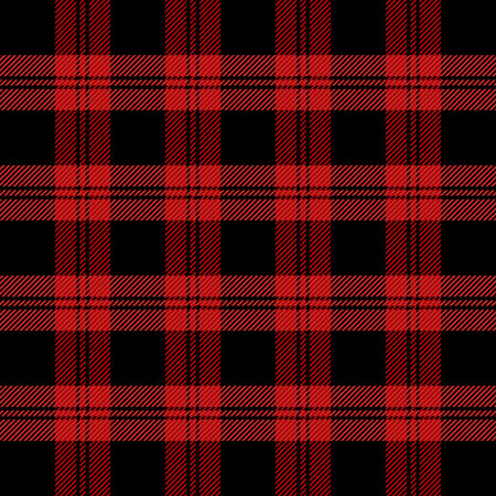Christmas and new year tartan plaid. Scottish pattern in red and black cage. Scottish cage. Traditional Scottish checkered background. Seamless fabric texture. Vector illustration Illustration