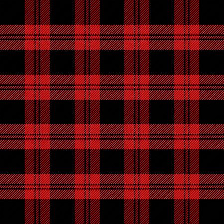 Tela escocesa de tartán de navidad y año nuevo. Patrón escocés en jaula roja y negra. Jaula escocesa. Fondo a cuadros tradicional escocés. Textura de tela sin costuras. Ilustración vectorial Ilustración de vector
