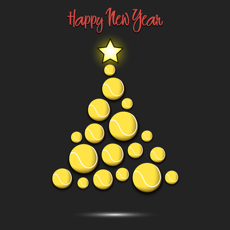 Happy new year. Christmas tree from tennis balls. Tennis themed Christmas tree. Pattern for banner, poster, greeting card, party invitation. Vector illustration