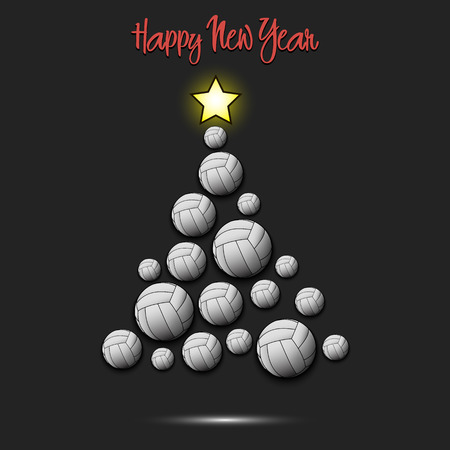 Happy new year. Christmas tree from volleyball balls. Volleyball themed Christmas tree. Pattern for banner, poster, greeting card, party invitation. Vector illustration
