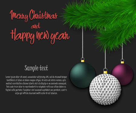 Merry Christmas and Happy new year. Golf ball as a Christmas decorations hanging on a Christmas tree branch. Christmas decorations. Frame for text. Vector illustration