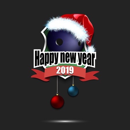 Happy new year. Bowling logo template design. Bowling ball with santa hat. Pattern for banner, poster, greeting card, party invitation. Vector illustration