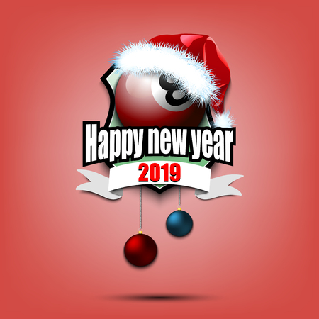 Happy new year. Billiard logo template design. Billiard ball with santa hat. Pattern for banner, poster, greeting card, party invitation. Vector illustration Çizim