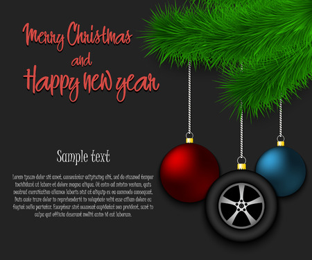 Merry Christmas and Happy new year. Wheel auto as a Christmas decorations hanging on a Christmas tree branch. Christmas decorations. Frame for text. Vector illustration