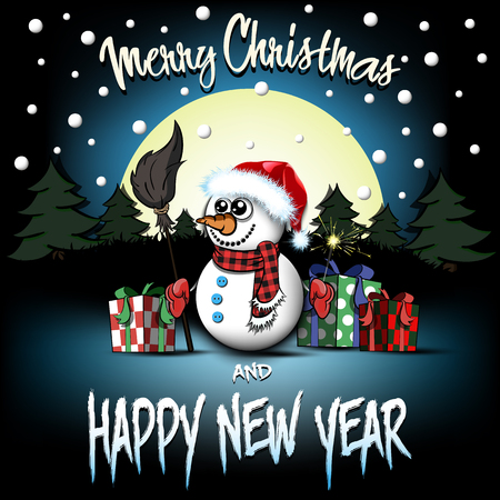 Christmas and new year pattern. Snowman with broom and sparklers, gift boxes, firs on the background of the moon and snowflakes. Design pattern for greeting card. Vector illustration