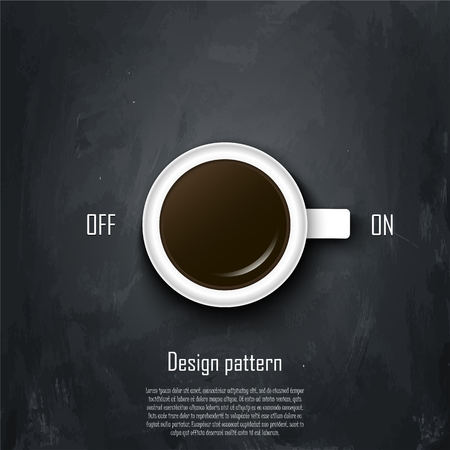 Coffee conception. Metaphor for idea. A cup of coffee as a inclusion productive working day. Design idea poster or banner. Vector illustration