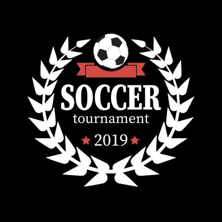 Soccer logo design template. Football emblem pattern. Vintage Style. Isolated on black background. Vector illustration