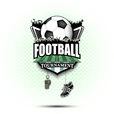 Soccer logo design template. Football emblem pattern. Soccer ball, gate, fans, field, shield, whistle and football boots on background with bubbles. Vector illustration Ilustração