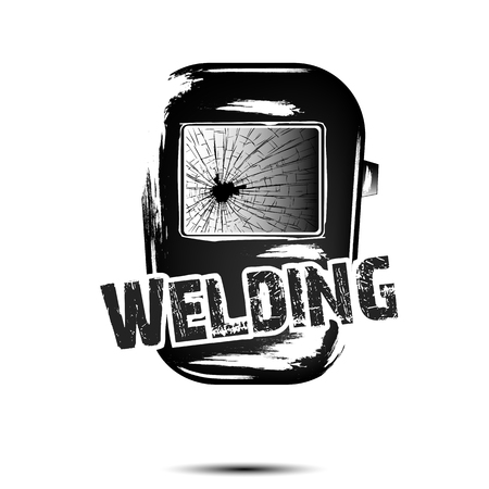 Welding and abstract mask of a welder. Logo welding design template. Grunge style. White background. Vector illustration