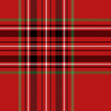 Tartan plaid. Scottish pattern in black, red and green cage. Checkered plaid in Christmas colors. Scottish cage. Abstract pattern. Checkered background. Seamless fabric texture. Vector illustration Ilustração