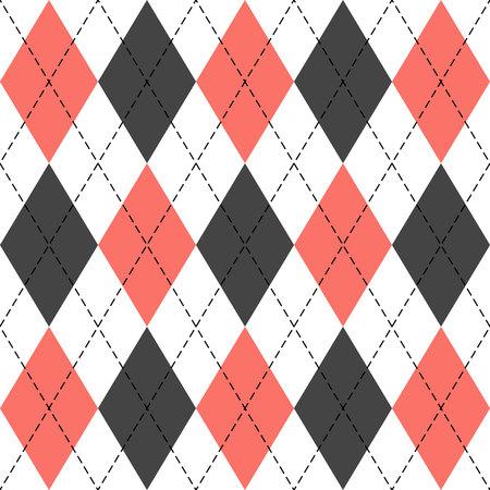 Argyle-Plaid. Lebende Korallenraute. Schottisches Muster in weißen, grauen und roten Rauten. Schottischer Käfig. Traditioneller schottischer Hintergrund von Diamanten. Nahtlose Stoffbeschaffenheit. Vektor-Illustration Vektorgrafik