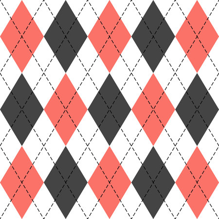 Argyle plaid. Living Coral argyle. Scottish pattern in white, grey and red rhombuses. Scottish cage. Traditional scottish background of diamonds. Seamless fabric texture. Vector illustration Векторная Иллюстрация