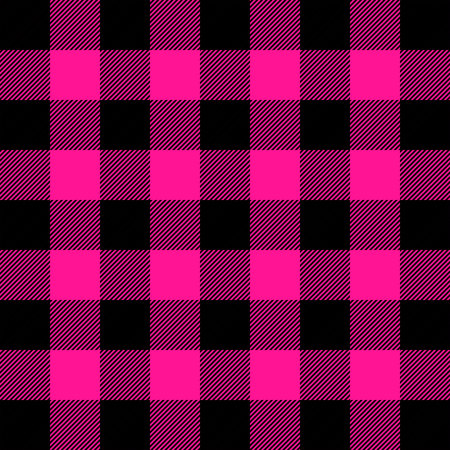 Buffalo tartan plaid. Plastic pink tartan. Scottish pattern in pink and black cage. Scottish cage. Abstract pattern. Checkered background. Seamless fabric texture. Vector illustration