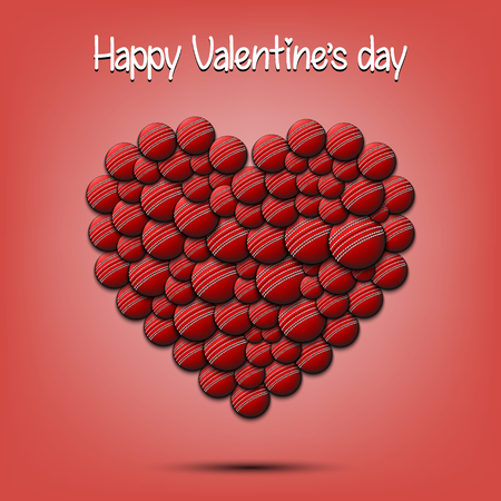 Happy Valentines Day. Heart from the cricket balls on isolated background. Design pattern for greeting card, banner, poster, flyer, invitation party. Vector illustration
