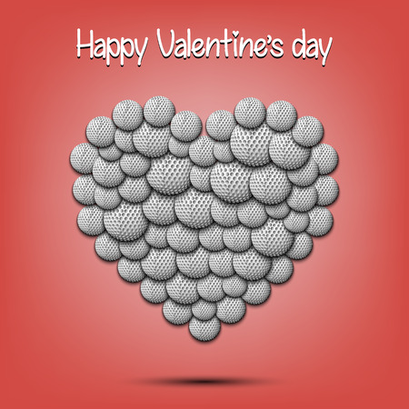 Happy Valentines Day. Heart from the golf balls on isolated background. Design pattern for greeting card, banner, poster, flyer, invitation party. Vector illustration