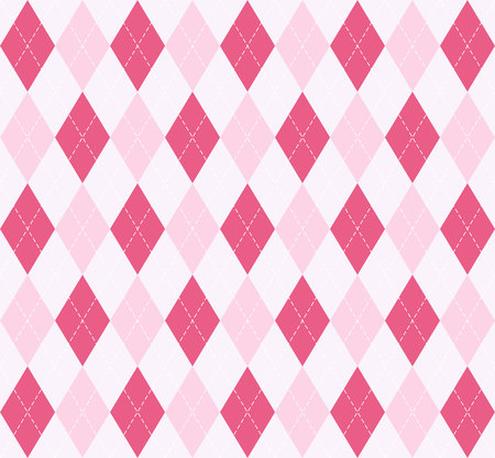 Valentines day Argyle plaid. Scottish pattern in red and white rhombuses. Scottish cage. Traditional Scottish background of diamonds. Seamless fabric texture. Vector illustration