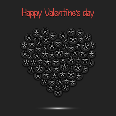 Happy Valentines Day. Heart from the car wheels on isolated background. Design pattern for greeting card, banner, poster, flyer, invitation party. Vector illustration Vektorgrafik