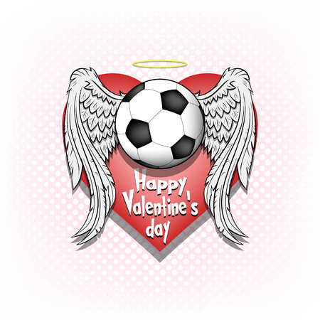 Saint Valentine day pattern. Football logo template design. Soccer ball with wings and nimbus. Pattern for banner, poster, greeting card, party invitation. Vector illustration