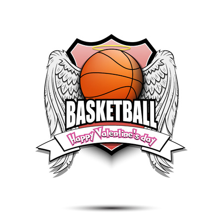 Saint Valentine day pattern. Basketball logo template design. Basketball ball with wings and nimbus. Pattern for banner, poster, greeting card, party invitation. Vector illustration