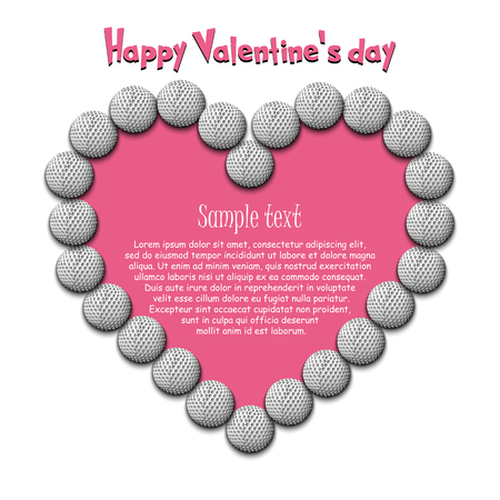 Happy Valentine Day. Frame of golf balls laid out in the shape of the heart on isolated background. Design pattern for greeting card, banner, poster, flyer,  invitation party. Vector illustration