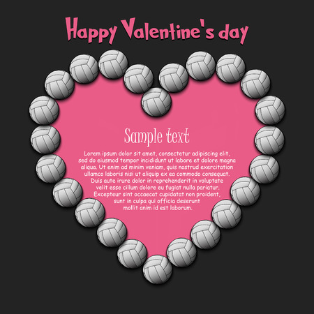 Happy Valentine Day. Frame of volleyball balls laid out in the shape of the heart on isolated background. Design pattern for greeting card, banner, poster, flyer, invitation. Vector illustration Vektorgrafik