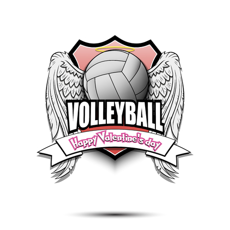 Happy Valentine day. Volleyball logo template design. Volleyball ball with wings and nimbus. Pattern for banner, poster, greeting card, party invitation. Vector illustration Stock Illustratie