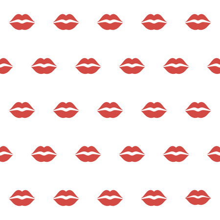 Seamless pattern with female lips on white background. Valentine day background. Print for paper wrapping, textile, fabric, cosmetic background. Vector illustration