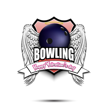 Happy Valentine day. Bowling logo template design. Bowling ball with wings and nimbus. Pattern for banner, poster, greeting card, party invitation. Vector illustration