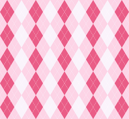 Valentine day Argyle plaid. Scottish pattern in red, pink and white rhombuses. Scottish cage. Traditional Scottish background of diamonds. Seamless fabric texture. Vector illustration
