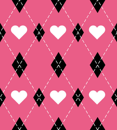 Valentine day Argyle plaid. Scottish pattern in red, pink and white rhombuses and hearts. Scottish cage. Traditional Scottish background of diamonds. Seamless fabric texture. Vector illustration Vettoriali