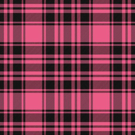 Tela escocesa de tartán del día de San Valentín. Patrón escocés en jaula rosa y negra. Jaula escocesa. Fondo a cuadros tradicional escocés. Textura de tela sin costuras. Ilustración vectorial